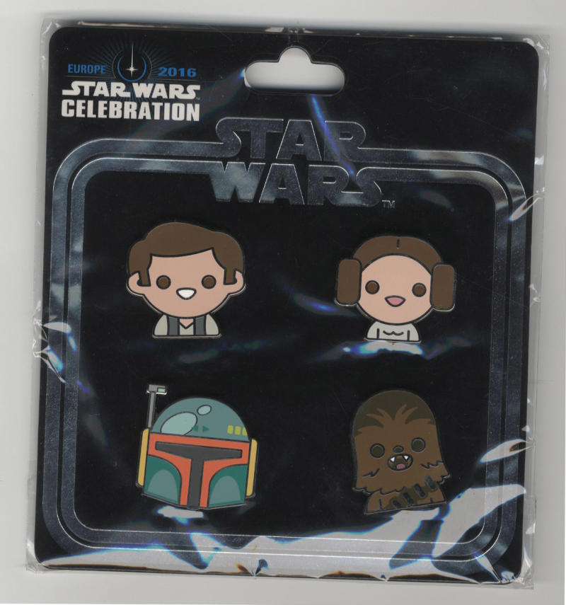 Star Wars Celebration Europe 2016 Emoji Original Trilogy Han, Leia, Fett, Chewie Pin