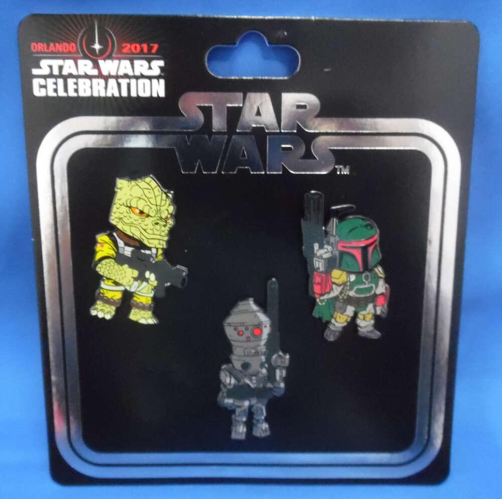 Star Wars Celebration Orlando 2017 Exclusive Pin Set Boba Fett Bossk IG-88 Bounty Hunters