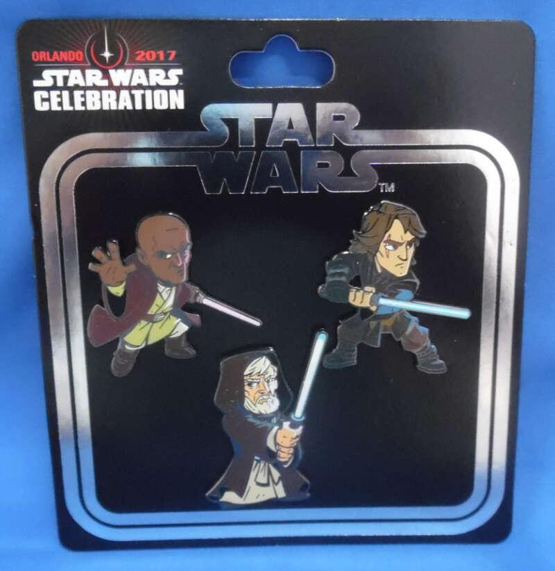 Star Wars Celebration Orlando 2017 Exclusive Pin Set Obi-Wan Kenobi Anakin Skywalker Mace Windu Jedi