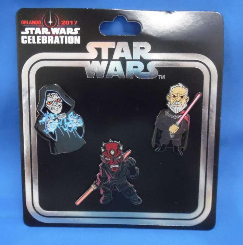 Star Wars Celebration Orlando 2017 Exclusive Pin Set Darth Maul Count Dooku Emperor Palpatine Sith