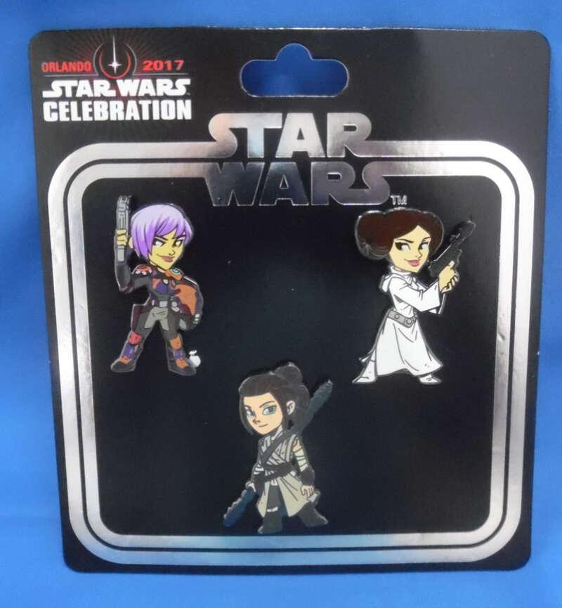 Star Wars Celebration Orlando 2017 Exclusive Pin Set Princess Leia Rey Sabine Wren Women