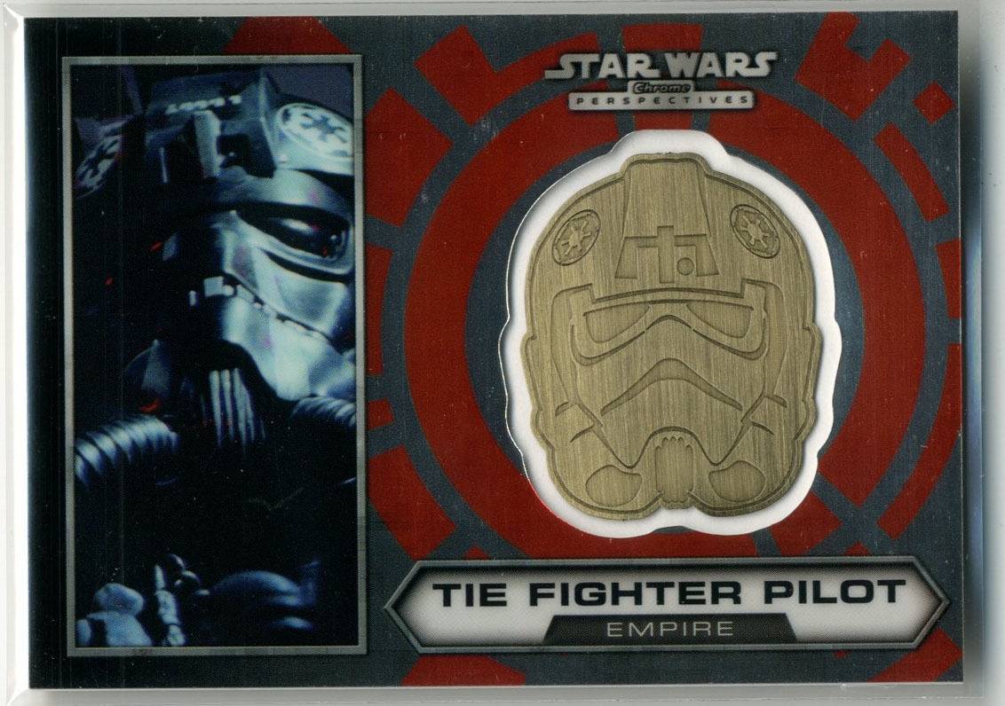 Star Wars Chrome Perspectives Tie Fighter Pilot Gold Medallion #21 1/100