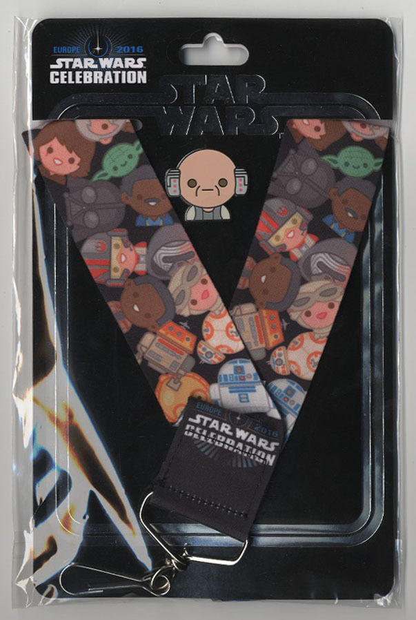 Star Wars Celebration Europe 2016 Emoji Lobot Pin & Lanyard US Seller
