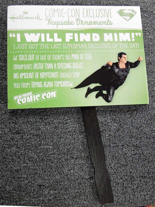 New York Comic Con Hallmark Superman Ornament Line Display Card