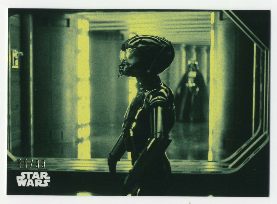 2018 TOPPS STAR WARS BLACK & WHITE Green Parallel 80/99 The Death Star Droid #75