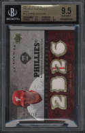 2007 Upper Deck Premieer Chase Utley #CU BGS 9.5 Gem Mint Quad Jersey Remnants 4 Gold 7/26