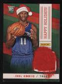 2014 Panini Black Friday #10 Joel Embiid NEW Happy Holidays Santa Patch Rookie Card RC