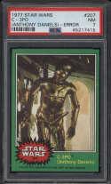 1977 Star Wars Green #207 C-3PO Anthony Daniels Error PSA 7 NM