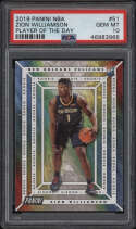 2019 Panini NBA #51 Zion Williamson PSA 10 Gem Mint Player Of The Day Rookie Card RC Pop 1/1