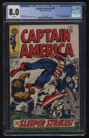 Captain America #102 CGC 8.0 W Pgs Red Skull Sleeper Marvel Comics Silver Age SA