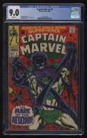 Captain Marvel #5 CGC 9.0 W Pgs Mar-Vell Metazoid Marvel Comics Silver Age SA