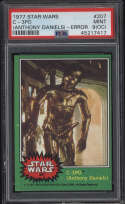 1977 Star Wars Green #207 C-3PO Anthony Daniels Error PSA 9 Mint OC