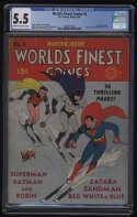 World's Finest Comics #4 CGC 5.5 CR/OW Pages Winter 1941 DC Comics Batman Superman Robin