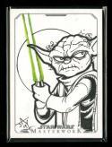 Star Wars Masterworks Yoda Jayson Kretzer Color Sketch Card 2015 Topps