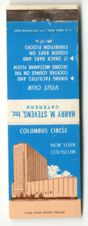 1960s New York Coliseum Columbus Circle Matchbook Cover Harry M Stevens Caterers
