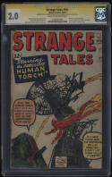 Stange Tales 101 CGC SS 2.0 CrOW Pg Signature Series Stan Lee Signed Human Torch