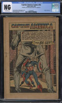Captain America Comics #54 CGC NG OW Pages COVERLESS CF Missing INCOMPLETE